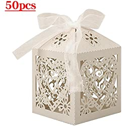 Lucky Monet 25/50/100PCS Love Heart Laser Cut Wedding Candy Gift Box Chocolate Box for Wedding Favor Birthday Party Bridal Shower with Ribbon (50pcs, Beige)