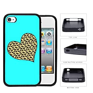 Leopard Print Heart Shape With Aqua Background Rubber Silicone TPU Cell Phone Case Apple iPhone 4 4s