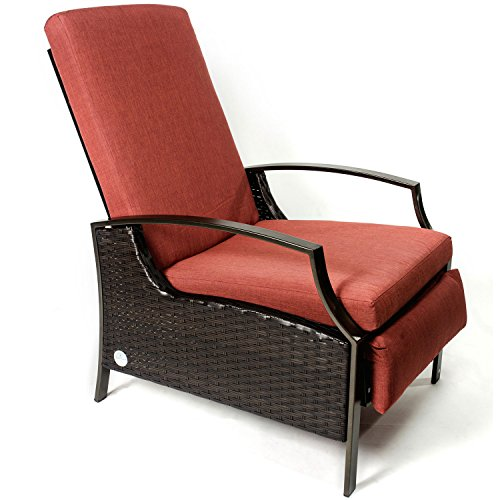 outdoor wicker adjustable recliner with cushion