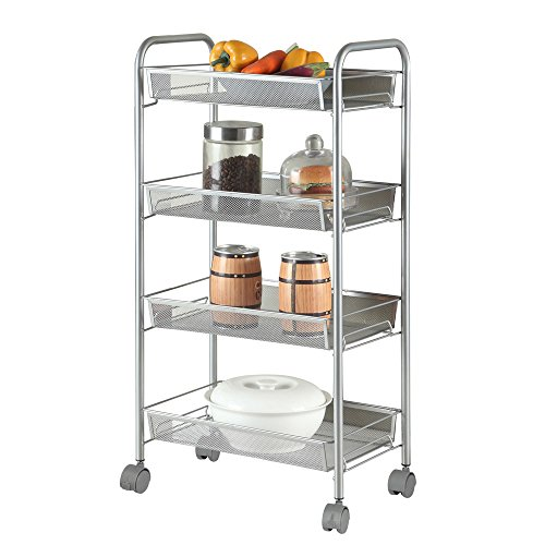 Azadx Space-Saving Honeycomb Mesh Style Removable Storage Cart Silver, Standing Shelf Rack Units with Wheels for Kitchen/Bathroom/ Office (4-Shelf)