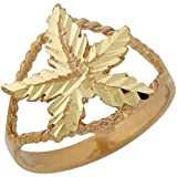 14k Yellow Gold Wide Top Split Band Diamond Cut Marijuana Pot Bud Leaf Ring