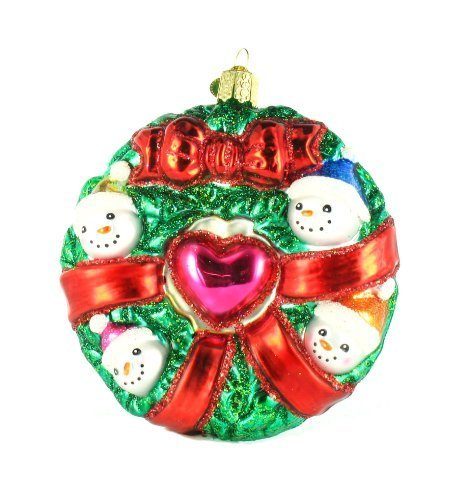 Old World Christmas Snowman Family Wreath Glass Ornament