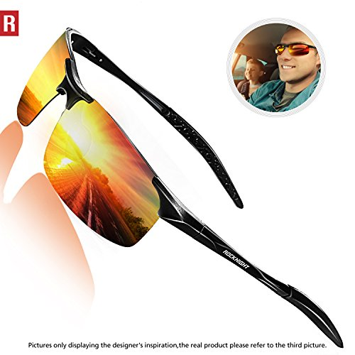 (ROCKNIGHT Driving Polarized Sunglasses for Men UV Protection Mirrored Sunglasses Ultra Lightweight Al-Mg Metal Outdoor Golf Fishing Sports Sunglasses Rimless)