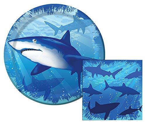 Shark Splash Themed Dessert Napkins & Plates Party Kit for (Shark Plates)