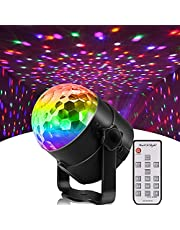 Disco Party Lights, Sound Activated Strobe Light Stage Light with Remote Control, RGB 7 Modes Disco Ball Light, Strobe Lamp for Home Room Dance Parties Bar Karaoke Xmas Wedding Show Club