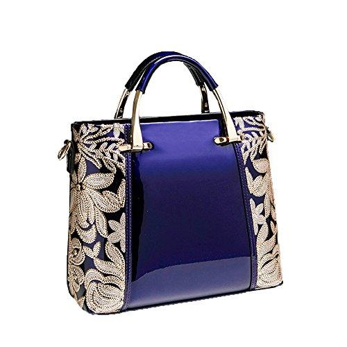 ZM-bag Messenger Bag Fashion Bolsos Nuevos 2018 Bolsos De Cuero Piel Cuero Pintado A Mano Hombro Sra. Bags Azul