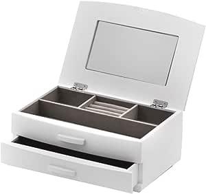 Caja de joyería de madera blanca con tapa de elevación con espejo ...