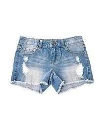 Khanomak Kids Girls Denim Distress Ripped Shorts