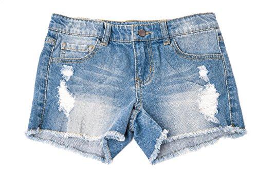 Khanomak Kids Girls Denim Distress Ripped Shorts with Adjustable Bands (Medium Wash_9-10Yrs) (Denim Shorts Girls)