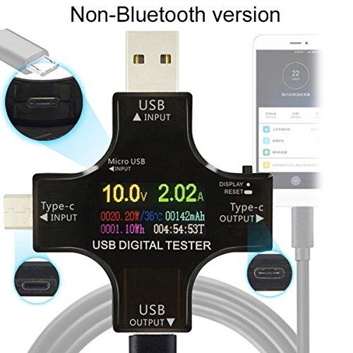 MakerHawk USB C Meter Tester Type-C USB Multimeter Tester Current Power Capacity AMP Voltage Charger Load Impedance PD Digital Temperature Tester Voltmeter Ammeter Color TFT Display