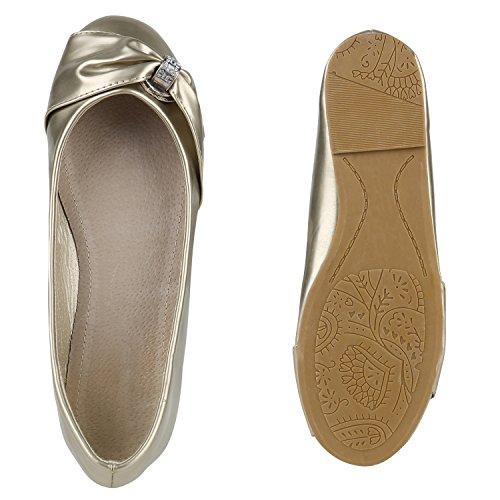 Stiefelparadies Damen Ballerinas Schleifen Klassische Ballerina Schuhe Strass Flats Metallic Übergrößen Gr. 36-44 Flandell Gold Metallic