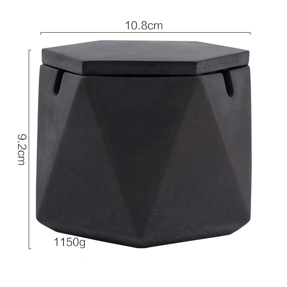 Ashtray with Lid Polygon Cement Creative Decoration Flat Modern for Interior Outdoor Desktop Decor Large,Pink