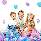 Lightaling 100pcs Blue Ocean Balls & Pit Balls Soft Plastic Phthalate & BPA Free Crush Proof - Reusable and Durable Storage Mesh Bag with Zipper