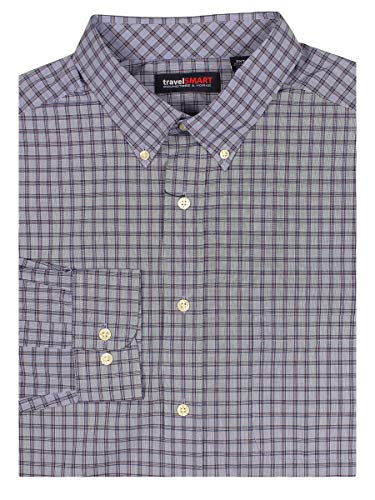 Roundtree & Yorke TravelSMART Men's Big & Tall Wrinkle Resistant Easy-Care Shirt (New Blue, 2X Tall)