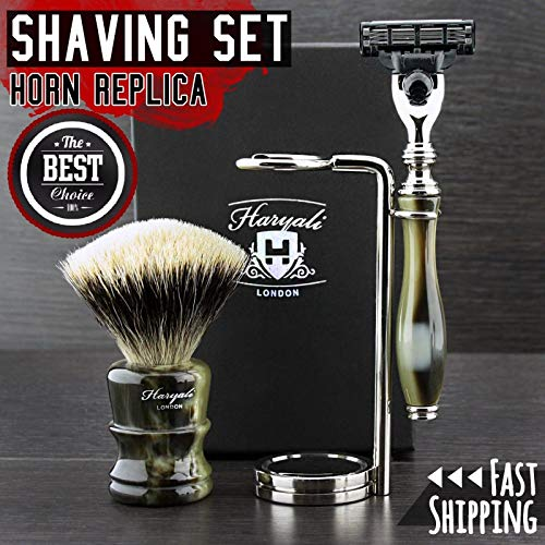 - New Horn Premium Edition - Shaving Set for Men > Mach3 Compatible Razor & Silver Tip Badger Brush - Luxury Handles - & Double Shaving Stand || Great Gift Idea for Him