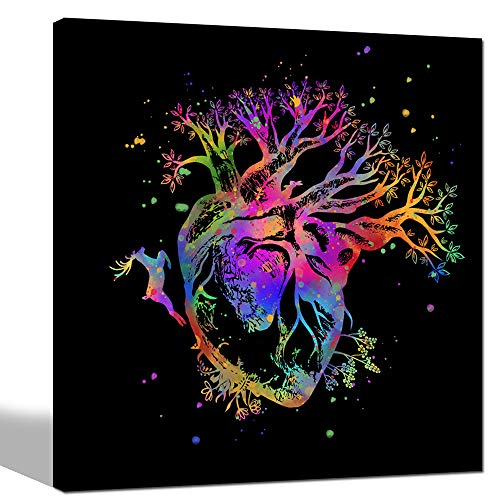 sechars - Tree of Life Wall Art Pop Color Human Heart Blooming with Tree Canvas Painting Giclee Print Abstract Deer Forest Nature Artwork for Living Room Ready to -