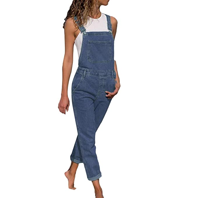 9a9c31fe62c Image Unavailable. Image not available for. Color  Ulanda Fashion Women  Solid Sleeveless Suspenders Overalls Jeans Denim Long Playsuit Jumpsuit  Pants