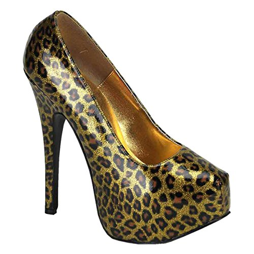 Womens Animal Print Pumps 5 3/4 Inch Heel Metallic Leopard Shoes Closed Toe Gold 8zwx5ZFOd8