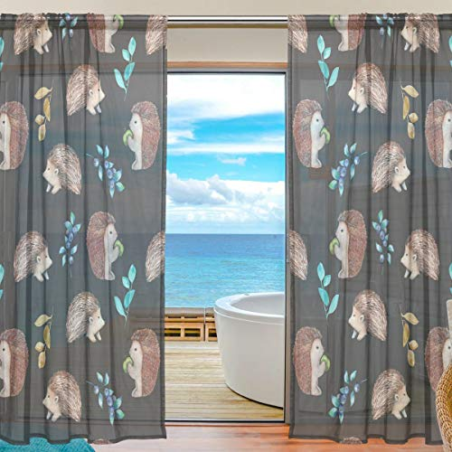 Blueberry Curtain - CUTEXL Home Sheer Curtain Cute Hedgehog Apple Blueberry 55x84 Inches Door Window Treatment Panel Gauze Curtain Livingroom Bedroom