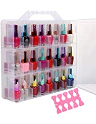 Portable Clear Double Side Nail Polish Organizer Holder...
