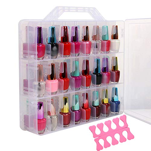 Portable Clear Double Side Nail Polish Organizer Holder Up to 48 Bottle Adjustable Spaces Divider + 2 Manicure Tool Compartments