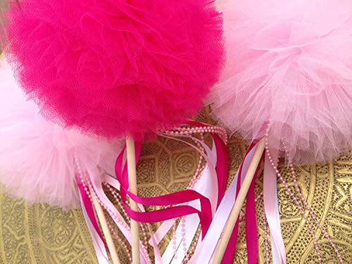 Set 5 Tulle Pompom Beads Wand Centerpiece fairy Wands Flowers Fluffy Tulle Pom Poms Ball wands for Baby Shower Decorations, Wedding Decor, Birthday Party Favors Celebration