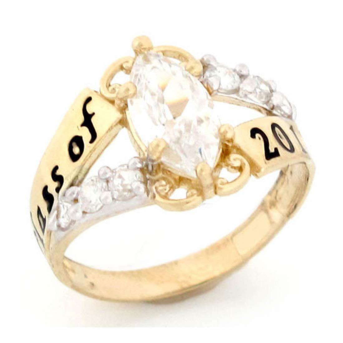 10k Gold Simulated April Birthstone 2019 Class Graduation Ring
