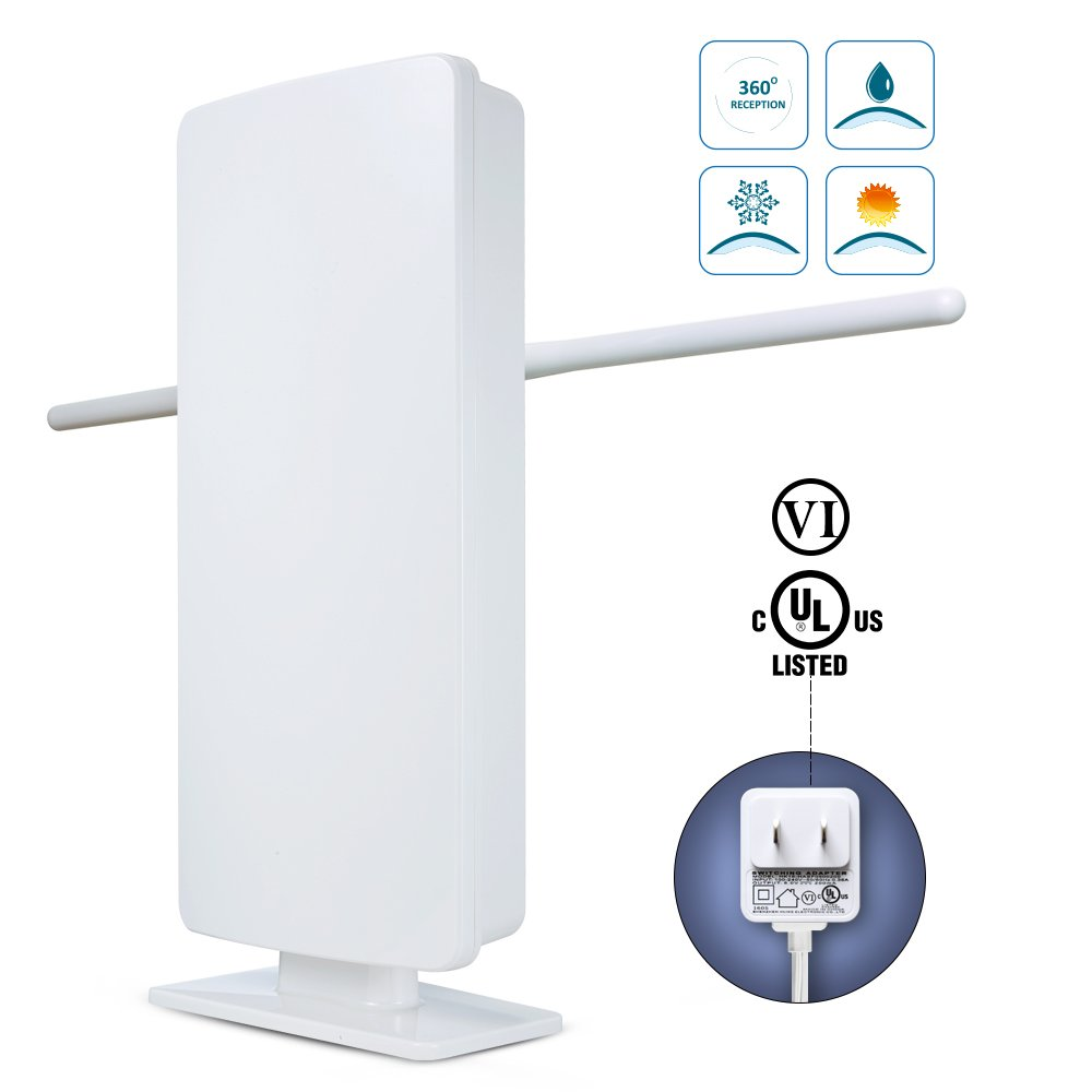 Outdoor TV Antenna -ANTOP 400-BV Amplified Flat Antenna with Noise-Free 4G Filter for VHF Enhanced, 70 Miles Multi-Directional Long Range Reception, 39ft Detachable Coaxial Cable, Waterproof