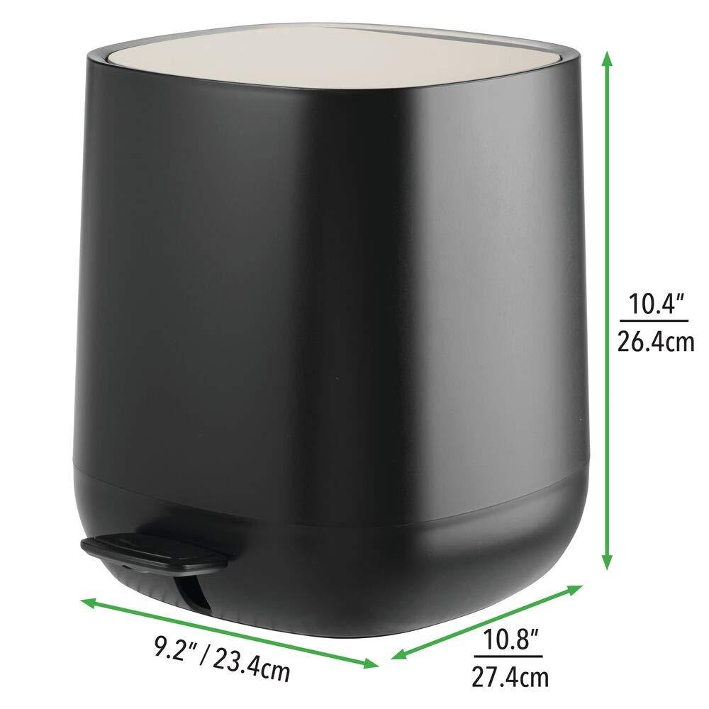5 L M/ülleimer aus Kunststoff mit Pedal anthrazit//mattsilberfarben B/üro etc K/üche mDesign Tretm/ülleimer perfekt als Kosmetikeimer oder Papierkorb f/ür Bad Deckel und Kunststoffeinsatz