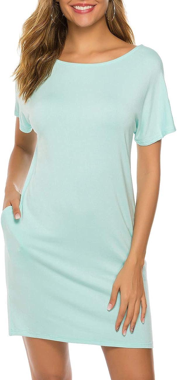 Womens Short Sleeve Crew Neck Floral T-Shirt Dress Casual Holiday Beach Sundress