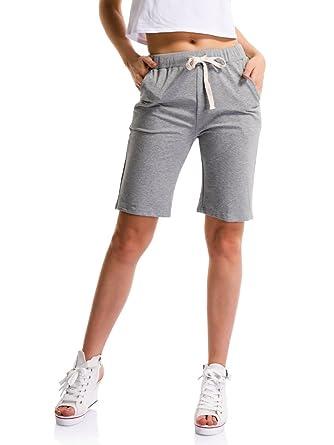 Damen Shorts Kurze Hose Weich Strick elastische Taille mit Tunnelzug Grau  Asien 2XL-EU M 44c3b5cff7