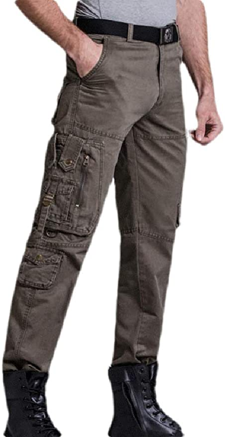 Etecredpow Mens Straight Fit Cargo Multiple Pockets Rugged Outdoors Pants