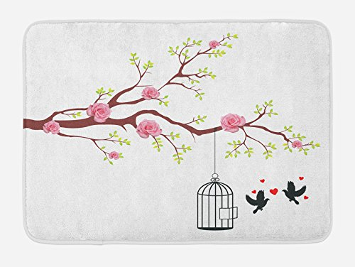 Ambesonne Birds Bath Mat, Blossomed Roses and Flying Love Valentine's Birds with Hearts and Cage Romance, Plush Bathroom Decor Mat with Non Slip Backing, 29.5 W X 17.5 L Inches, Pink Brown White