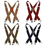 Bundle Monster 4pc Solid Colored Design X-Back Adjustable Clip Unisex Suspender