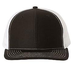 a7089229 Amazon.com: Richardson Black 112 Mesh Back Trucker Cap Snapback Hat ...