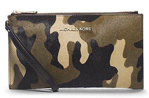 Michael Kors Bedford Large Top Zip Clutch / Wristlet in Duffle (Camo) Haircalf by Michael Kors