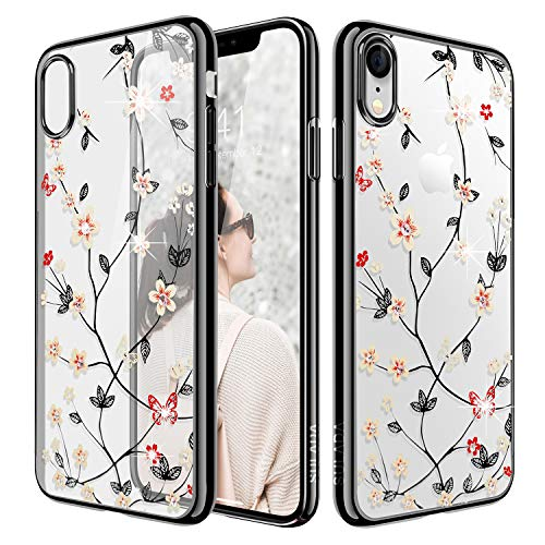 iPhone Xr Case,WATACHE Glitter Diamond Floral Branch Design Clear Back + Electroplated Hard PC Frame Scratch Resistant Slim Case for Apple iPhone Xr (6.1 Inch) - Black