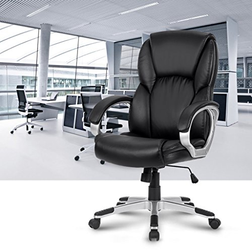 LANGRIA LROC-6176 High-Back Executive Chair Modern Ergonomic Leather Computer Office Chair with Padded Armrests, Adjustable Seat Height, Knee Tilt Mechanism, 360 Degree Swivel, Black