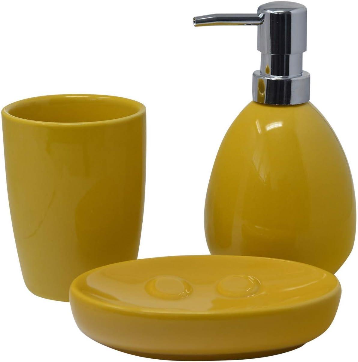 HOGAR Y MAS Juego/Set de Baño 3 Piezas en Cerámica, Color Amarillo, Diseño Moderno/Elegante. Vaso, Dispensador y Bandeja de baño -Hogarymas