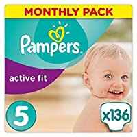 Pampers Active Fit 136 Nappies with Absorbing Channels, 11-23 kg, Size 5
