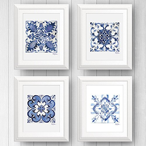 Shelby Dillon Studio Azulejo Portuguese Tile Art Prints - Set of 4 - Unframed (5x7)