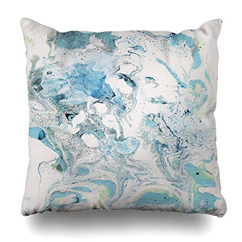 - Ahawoso Throw Pillow Cover Istic Artistic Light Blue Gray White Fluid Abstract Bright Canvas Color Contemporary Design Artwork Home Decor Pillow Case Square Size 16x16 Inches Zippered Pillowcase