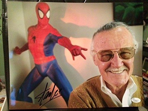 STAN LEE HAND SIGNED OVERSIZED 11x14 COLOR PHOTO RARE MARVEL COMICS JS