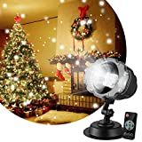 Gsha LED Snowfall Projector Lights, Waterproof Christmas Lights Displays with Remote Control, 16.4ft Power Cable for Xmas Halloween Party Wedding and Garden Decorations