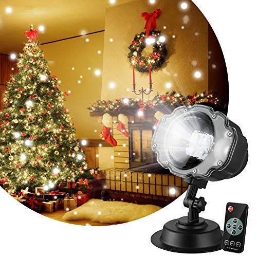 WISREMT Christmas Snowflake Projector Lights, Winter Holiday Landscape Motion Remote Control Projector Lights with 16.4ft Power Cable for Indoor Outdoor Holiday Decoration