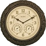 "Chaney Clock/Thermometer/Hygrometer Combo 15"" - Wicker"
