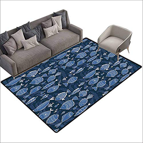 Floor mats for Kids Ocean,Sealife Marine Navy Image with Tropic Fish Moss Leaves Artwork Image,Blue Indigo Royal Blue 64