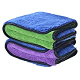 """720gsm Ultra Thick Plush Microfiber Car Cleaning Towels Buffing Cloths Super Absorbent Drying Auto Datailing Towel (16""""x24"""", 2 Pack (blue/purple+blue/green))"""