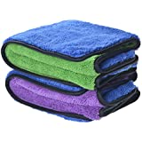 "720gsm Ultra Thick Plush Microfiber Car Cleaning Towels Buffing Cloths Super Absorbent Drying Auto Datailing Towel (16""x16"", 2 Pack (blue/purple+blue/green))"