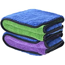 Sinland 720gsm Ultra Thick Plush Microfiber Car Cleaning Towels Buffing Cloths Super Absorbent Drying Auto Detailing Towel (16inchx24inch, 2 Pack (blue/purple+blue/green))